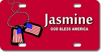 American Flag Dog Tags Background License Plate for Bikes, Bicycles, ATVs, Cart, Walkers, Motorcycles, Wagons and Vehicles