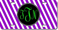 Stripes Monogram License Plate for Bikes, Bicycles, ATVs, Cart, Walkers, Motorcycles, Wagons and Vehicles
