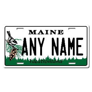 Maine License Plate for Bikes, Bicycles, ATVs, Cart, Walkers, Motorcycles, Wagons and Vehicles Version 1