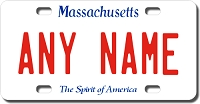 Massachusetts License Plate for Bikes, Bicycles, ATVs, Cart, Walkers, Motorcycles, Wagons and Vehicles