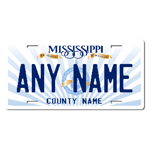 Mississippi License Plate for Bikes, Bicycles, ATVs, Cart, Walkers, Motorcycles, Wagons and Vehicles Version 2