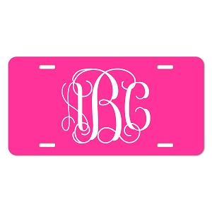 Vine Font Monogram License Plate - Sizes for Cars, Trucks, Bikes, Wagon and electric cars ( Hot Pink )