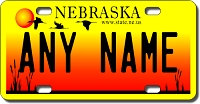 Nebraska License Plate for Bikes, Bicycles, ATVs, Cart, Walkers, Motorcycles, Wagons and Vehicles   Version 2