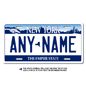 New York License Plate for Bikes, Bicycles, ATVs, Cart, Walkers, Motorcycles, Wagons and Vehicles Version 1