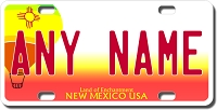 New Mexico License Plate for Bikes, Bicycles, ATVs, Cart, Walkers, Motorcycles, Wagons and Vehicles Version 2