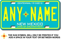 New Mexico License Plate for Bikes, Bicycles, ATVs, Cart, Walkers, Motorcycles, Wagons and Vehicles Version 3