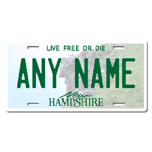 New Hampshire License Plate for Bikes, Bicycles, ATVs, Cart, Walkers, Motorcycles, Wagons and Vehicles Version 1