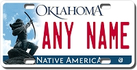 Oklahoma License Plate for Bikes, Bicycles, ATVs, Cart, Walkers, Motorcycles, Wagons and Vehicles Version 2