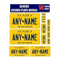 Personalized Alaska License Plate Decals - Stickers Version 2