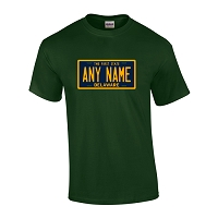 Personalized Delaware License Plate T-shirt Adult and Youth Sizes