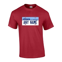 Personalized Illinois License Plate T-shirt Adult and Youth Sizes Version 1