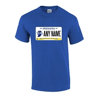 Personalized Indiana License Plate T-shirt Adult and Youth Sizes Version 2