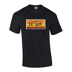 Personalized Kansas License Plate T-shirt Adult and Youth Sizes Version 4