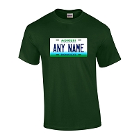 Personalized Missouri License Plate T-shirt Adult and Youth Sizes Version 1