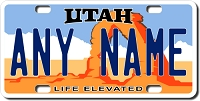 Utah License Plate for Bikes, Bicycles, ATVs, Cart, Walkers, Motorcycles, Wagons and Vehicles Version 2