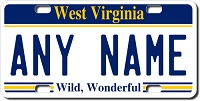 West Virginia License Plate for Bikes, Bicycles, ATVs, Cart, Walkers, Motorcycles, Wagons and Vehicles
