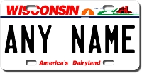 Wisconsin License Plate for Bikes, Bicycles, ATVs, Cart, Walkers, Motorcycles, Wagons and Vehicles Version 2