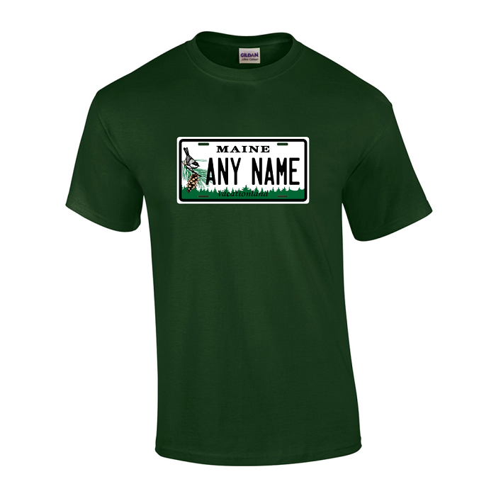 Personalized Maine License Plate T-shirt Adult and Youth Sizes Version 1