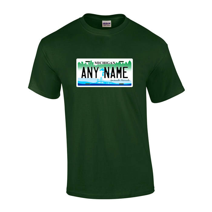 Personalized Michigan License Plate T-shirt Adult and Youth Sizes Version 2