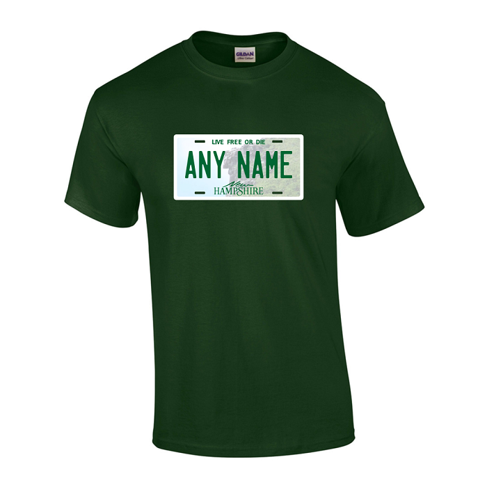 Personalized New Hampshire License Plate T-shirt Adult and Youth Sizes