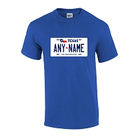 Personalized Texas License Plate T-shirt Adult and Youth Sizes Version 1