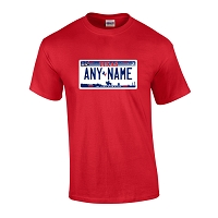 Personalized Texas License Plate T-shirt Adult and Youth Sizes Version 3