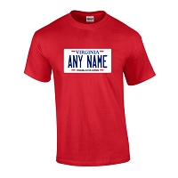 Personalized Virginia License Plate T-shirt Adult and Youth Sizes Version 3