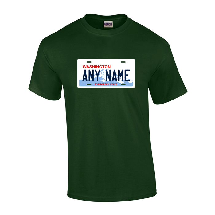 Personalized Washington License Plate T-shirt Adult and Youth Sizes Version 2
