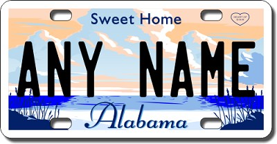 Alabama License Plate for Bikes, Bicycles, ATVs, Cart, Walkers, Motorcycles, Wagons and Vehicles Version 2