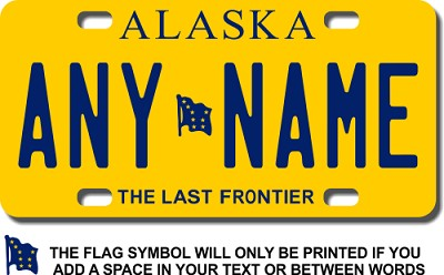 Alaska License Plate for Bikes, Bicycles, ATVs, Cart, Walkers, Motorcycles, Wagons and Vehicles Version 2