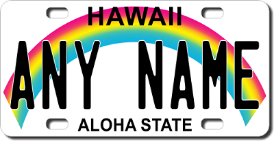 Hawaii License Plate for Bikes, Bicycles, ATVs, Cart, Walkers, Motorcycles, Wagons and Vehicles