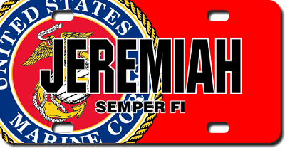 U.S. Marines Seal / Red Background License Plate for Bikes, Bicycles, ATVs, Cart, Walkers, Motorcycles, Wagons and Vehicles