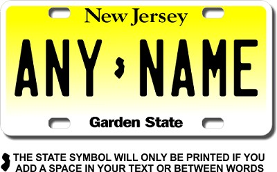 New Jersey License Plate for Bikes, Bicycles, ATVs, Cart, Walkers, Motorcycles, Wagons and Vehicles