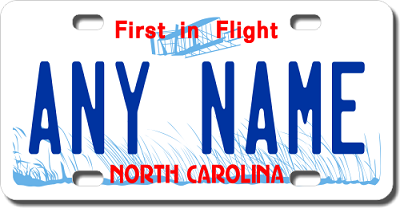 North Carolina License Plate for Bikes, Bicycles, ATVs, Cart, Walkers, Motorcycles, Wagons and Vehicles