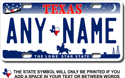 Texas License Plate for Bikes, Bicycles, ATVs, Cart, Walkers, Motorcycles, Wagons and Vehicles Version 3