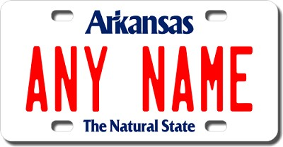 Arkansas License Plate for Bikes, Bicycles, ATVs, Cart, Walkers, Motorcycles, Wagons and Vehicles