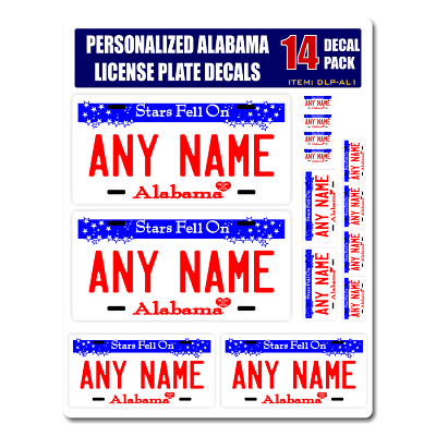 Personalized Alabama License Plate Decals - Stickers Version 1