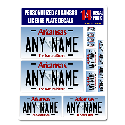 Personalized Arkansas License Plate Decals - Stickers Version 2
