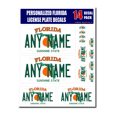 Personalized Florida License Plate Decals - Stickers Version 1