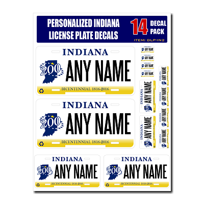 Personalized Indiana License Plate Decals - Stickers Version 2
