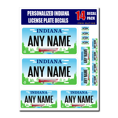 Personalized Indiana License Plate Decals - Stickers Version 3