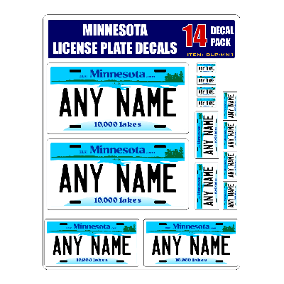 Personalized Minnesota License Plate Decals - Stickers Version 1