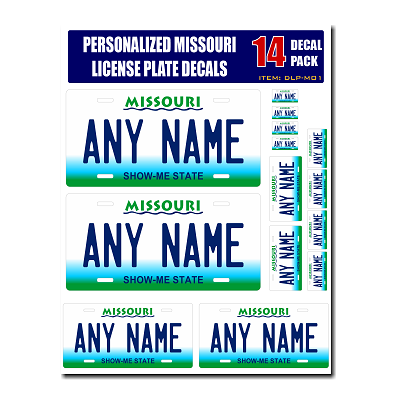 Personalized Missouri License Plate Decals - Stickers Version 1