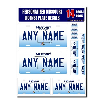 Personalized Missouri License Plate Decals - Stickers Version 2