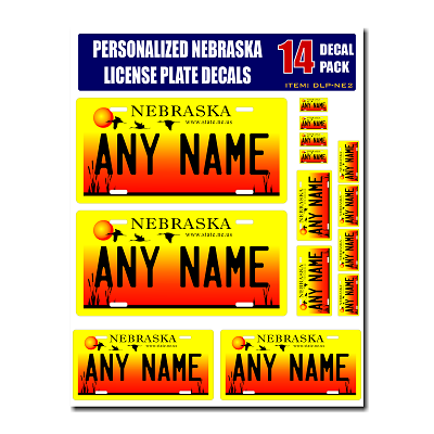 Personalized Nebraska License Plate Decals - Stickers Version 2