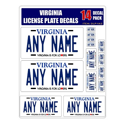Personalized Virginia License Plate Decals - Stickers Version 3