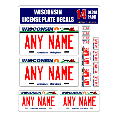 Personalized Wisconsin License Plate Decals - Stickers Version 1