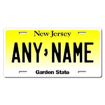 New Jersey License Plate for Bikes, Bicycles, ATVs, Cart, Walkers, Motorcycles, Wagons and Vehicles Version 1